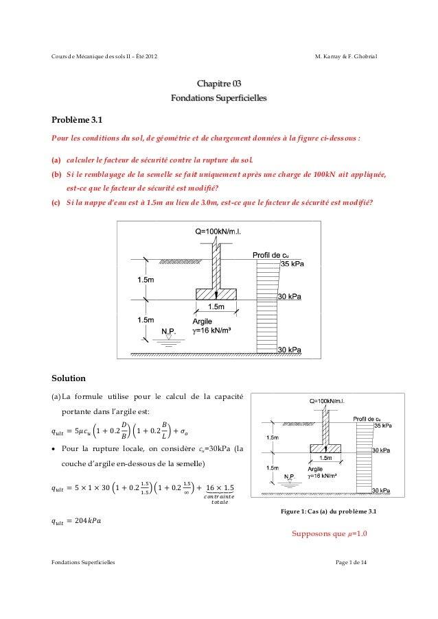Cours de M Mécanique des s sols II – Été 2012 2  M. Karray & F. Ghobrial  Chapitre 0 03 Fondat tions Supe erficielles Prob...