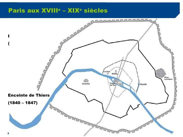Paris aux XVIII e  – XIX e  siècles L'octroi des Fermiers généraux (2 ème  ½ du XVIII e  siècle) Enceinte de Thiers (1840 ...