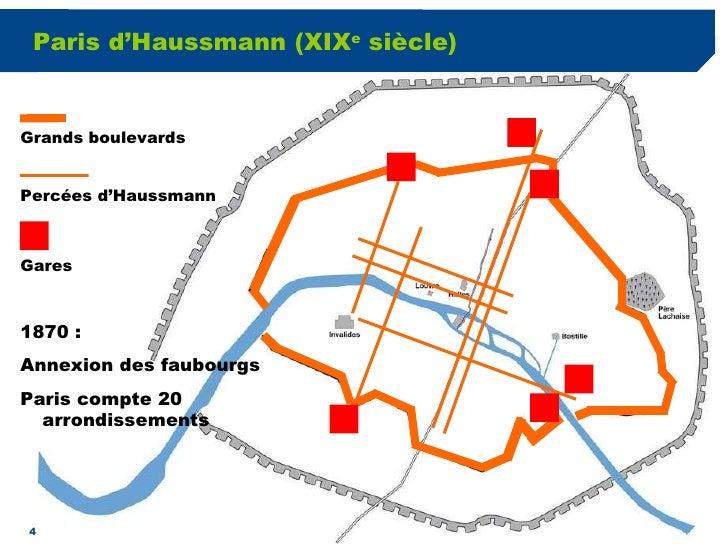 Paris d'Haussmann (XIX e  siècle) Grands boulevards Percées d'Haussmann Gares 1870 :  Annexion des faubourgs  Paris compte...
