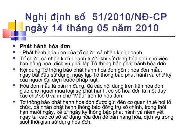 Nghị định số 51/2010/NĐ-CP ngày 14 tháng 05 năm 2010  Phát hành hóa đơn  - Phát hành hóa đơn của tổ chức, cá nhân kinh d...