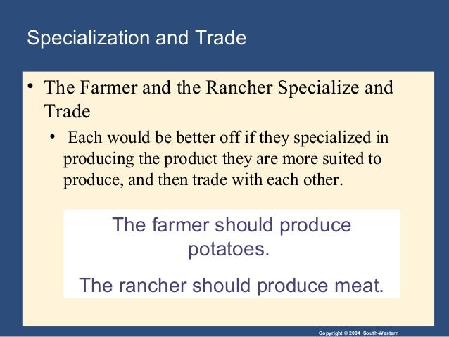 specialization in trade In international trade: comparative-advantage analysis smith emphasized the importance of specialization as a source of increased output, and he treated international trade as a particular instance of specialization: in a world where productive resources are scarce and human wants cannot be.