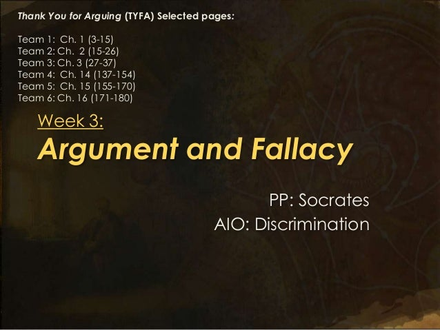 Thank You for Arguing (TYFA) Selected pages:Team 1: Ch. 1 (3-15)Team 2: Ch. 2 (15-26)Team 3: Ch. 3 (27-37)Team 4: Ch. 14 (...