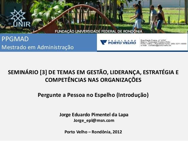 PPGMAD Mestrado em Administração SEMINÁRIO [3] DE TEMAS EM GESTÃO, LIDERANÇA, ESTRATÉGIA E COMPETÊNCIAS NAS ORGANIZAÇÕES P...