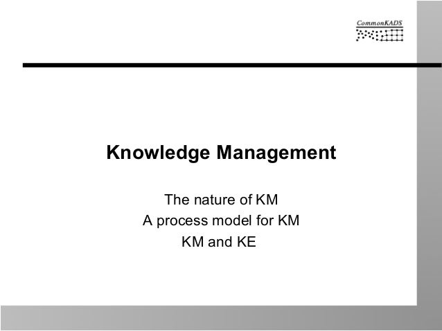 Knowledge Management The nature of KM A process model for KM KM and KE
