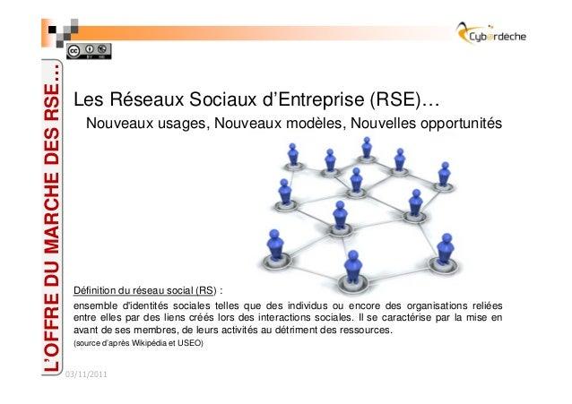 Les Réseaux Sociaux d'Entreprise (RSE)… Nouveaux usages, Nouveaux modèles, Nouvelles opportunités Définition du réseau soc...