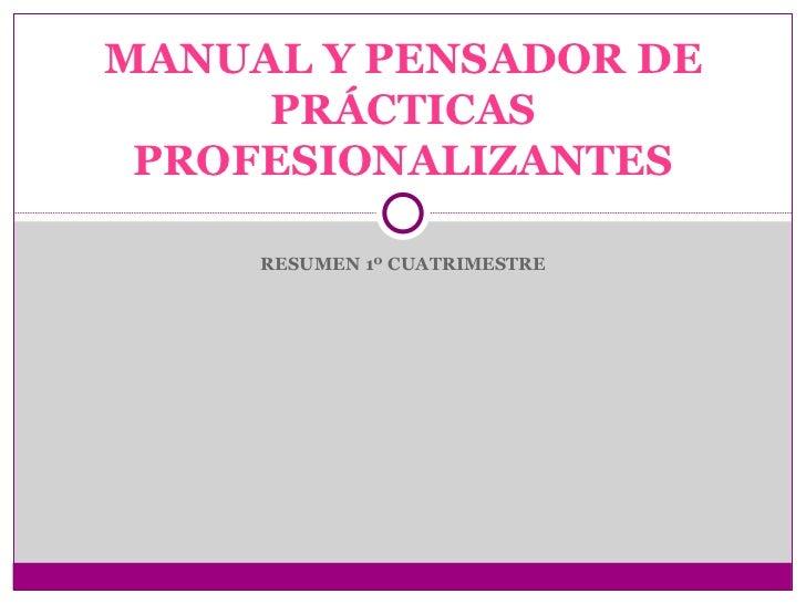 MANUAL Y PENSADOR DE     PRÁCTICAS PROFESIONALIZANTES     RESUMEN 1º CUATRIMESTRE