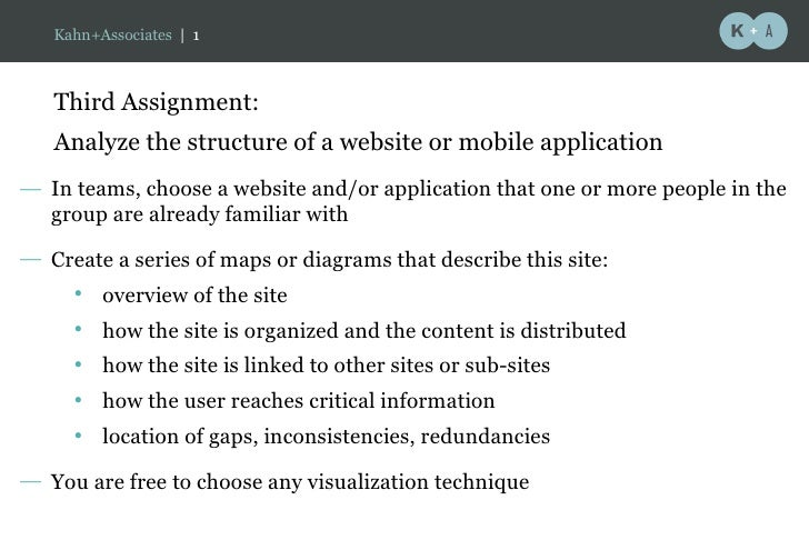 Third Assignment:  Analyze the structure of a website or mobile application <ul><li>In teams, choose a website and/or appl...