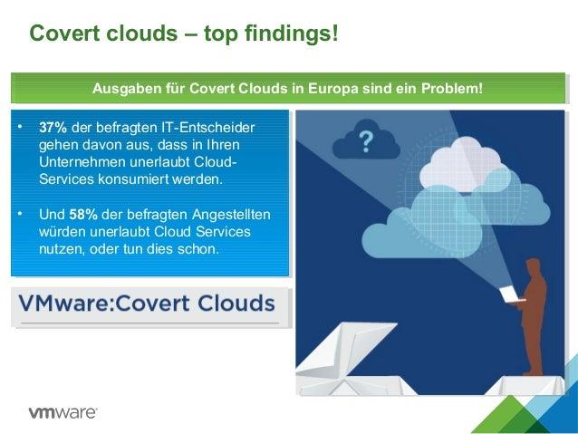Covert clouds – top findings! • 37% der befragten IT-Entscheider gehen davon aus, dass in Ihren Unternehmen unerlaubt Clou...