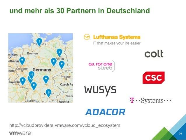 und mehr als 30 Partnern in Deutschland 36 http://vcloudproviders.vmware.com/vcloud_ecosystem