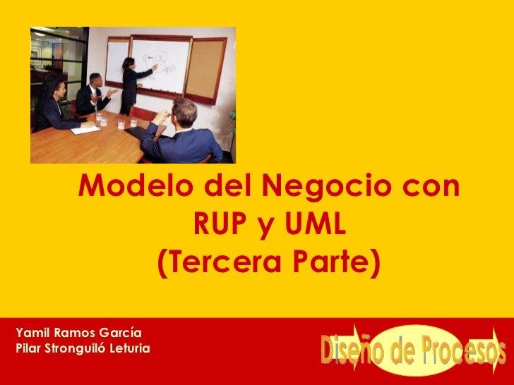 Modelo del Negocio con RUP y UML (Tercera Parte) Yamil Ramos García Pilar Stronguiló Leturia