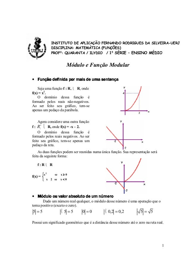 1 Módulo e Função Modular • Função definida por mais de uma sentençaFunção definida por mais de uma sentençaFunção definid...