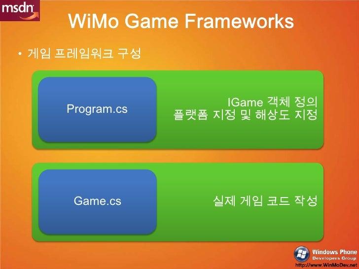 게임 프레임워크 구성<br />실제 게임 코드 작성<br />WiMo Game Frameworks<br />IGame객체 정의<br />플랫폼 지정 및 해상도 지정<br />Program.cs<br />Game.cs<b...