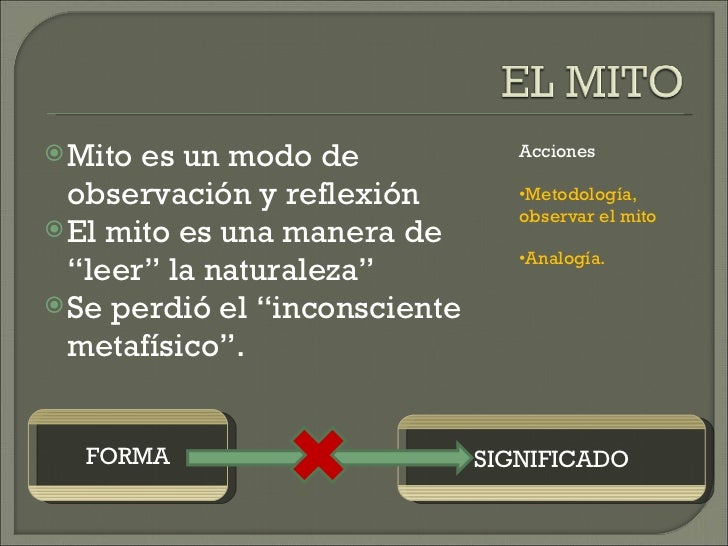 """<ul><li>Mito es un modo de observación y reflexión </li></ul><ul><li>El mito es una manera de """"leer"""" la naturaleza"""" </li><..."""