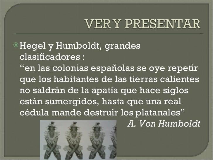 """<ul><li>Hegel y Humboldt, grandes clasificadores : </li></ul><ul><li>"""" en las colonias españolas se oye repetir que los ha..."""