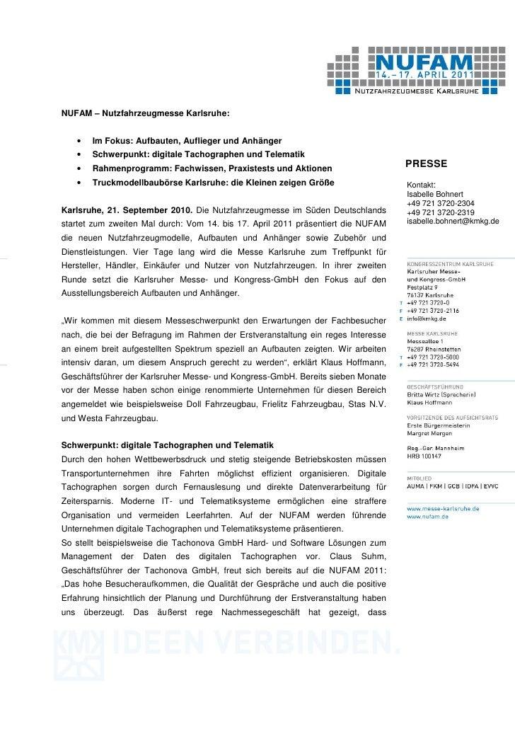 NUFAM – Nutzfahrzeugmesse Karlsruhe:      •     Im Fokus: Aufbauten, Auflieger und Anhänger      •     Schwerpunkt: digita...