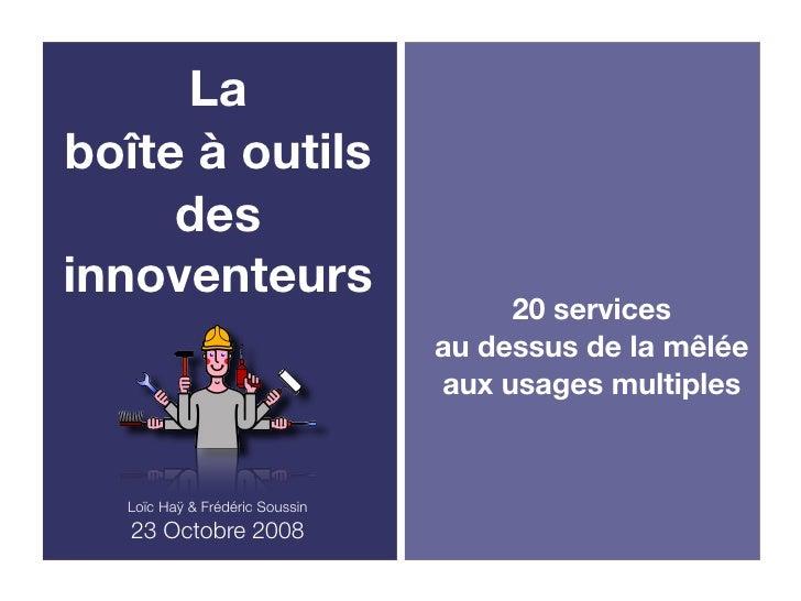 La boîte à outils      des innoventeurs                                      20 services                                 a...