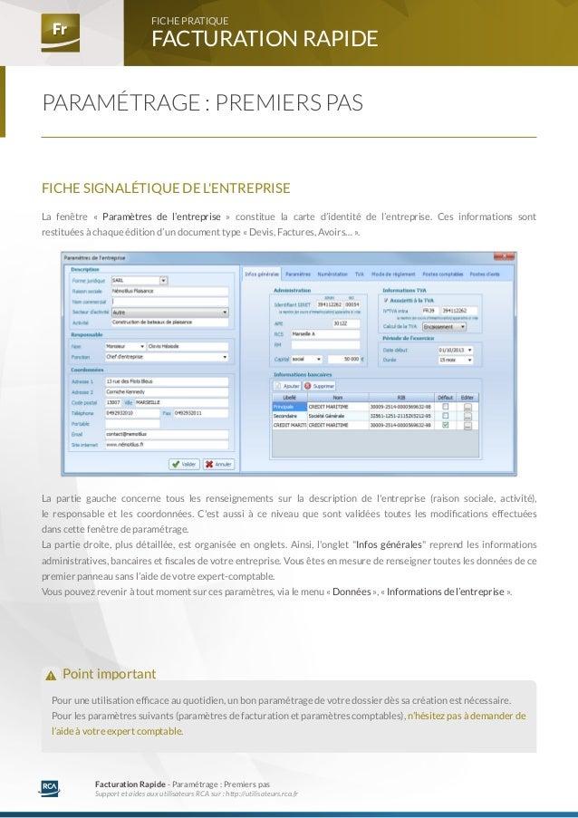 Fr Fr FACTURATION RAPIDE  FICHE PRATIQUE  Facturation Rapide - Paramétrage : Premiers pas  Support et aides aux utilisateu...