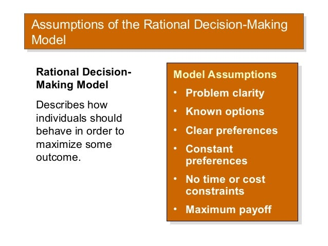 decision maker and the rational man Rational decision making, along with the thinking process that it involves, is a subject that has been vastly researched, both theoretically and empirically.