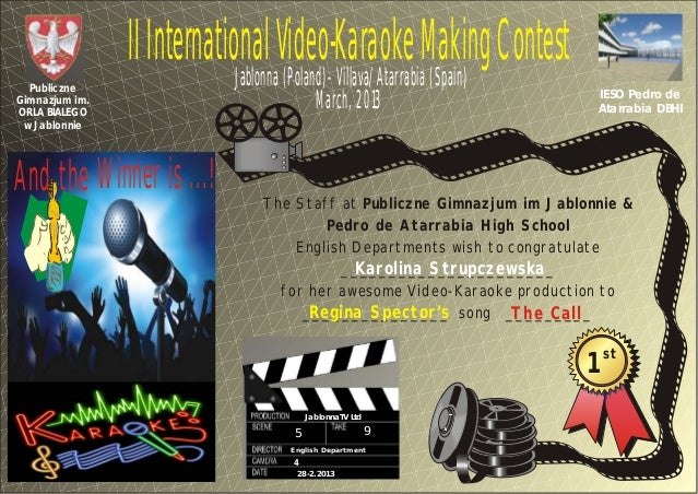 II International Video-Karaoke Making Contest                            Jablonna (Poland)- Villava/Atarrabia (Spain)  Pub...