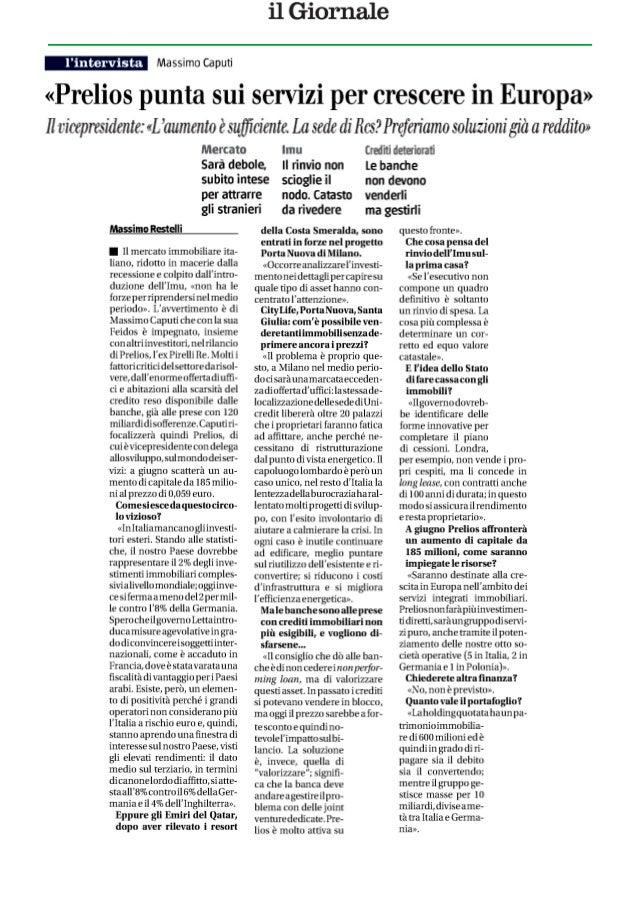 Il Giornale - Massimo Restelli - 23/05/2013 pg. 26 ed. Nazionale«Prelios punta sui servizi per crescere in Europa»Lintervi...