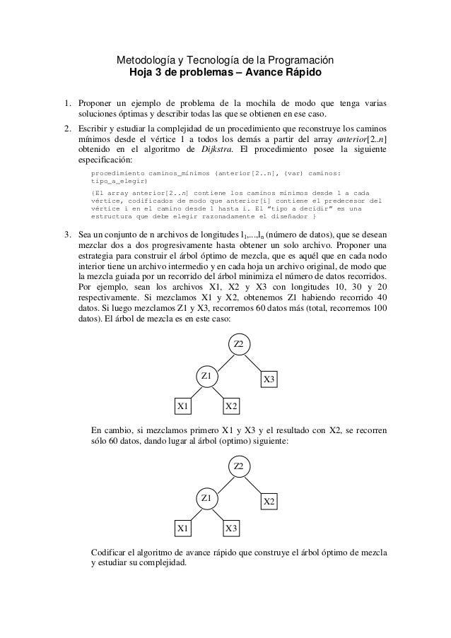 Metodología y Tecnología de la ProgramaciónHoja 3 de problemas – Avance Rápido1. Proponer un ejemplo de problema de la moc...