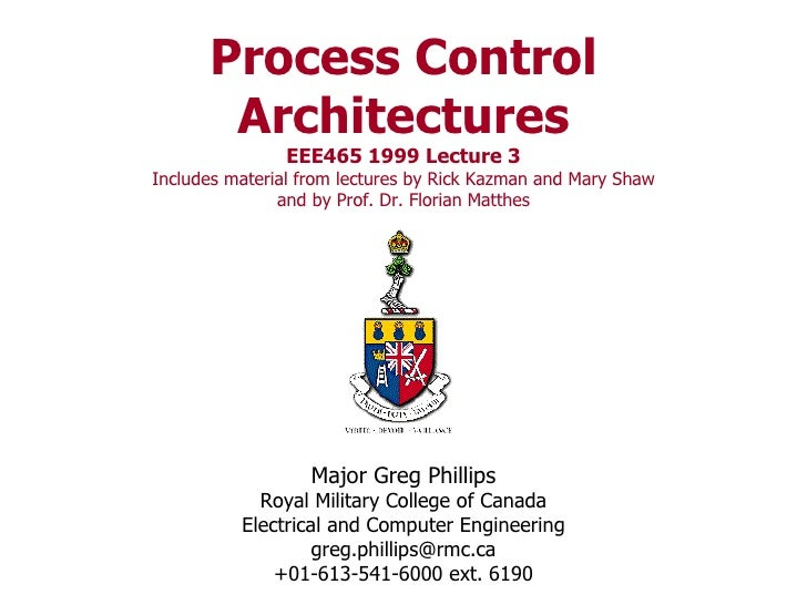 Process Control Architectures EEE465 1999 Lecture 3 Includes material from lectures by Rick Kazman and Mary Shaw and by Pr...