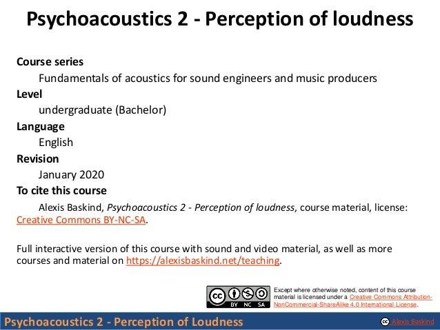 Psychoacoustics 2 - Perception of Loudness Slide 2