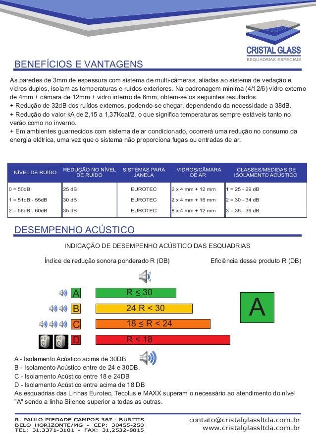 CRISTAL GLASS  BENEFÍCIOS E VANTAGENS  ESQUADRIAS ESPECIAIS  As paredes de 3mm de espessura com sistema de multi-câmeras, ...