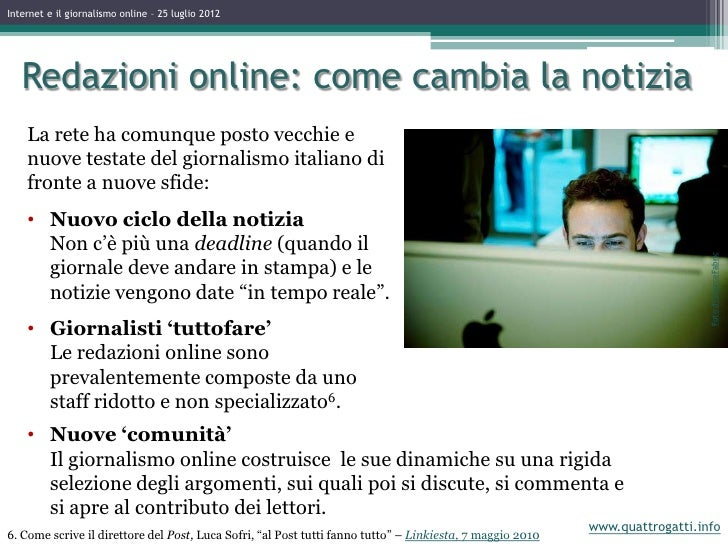 Giornalismo online dating