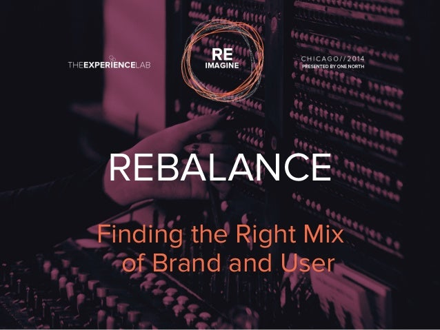 REBALANCE  Finding the Right Mix  of Brand and User