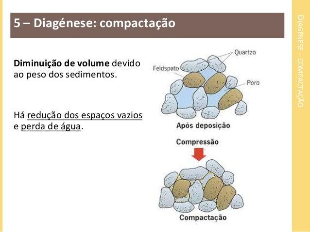 DIAGÉNESE - COMPACTAÇÃO  5 – Diagénese: compactação  Diminuição de volume devido  ao peso dos sedimentos.  Há redução dos ...