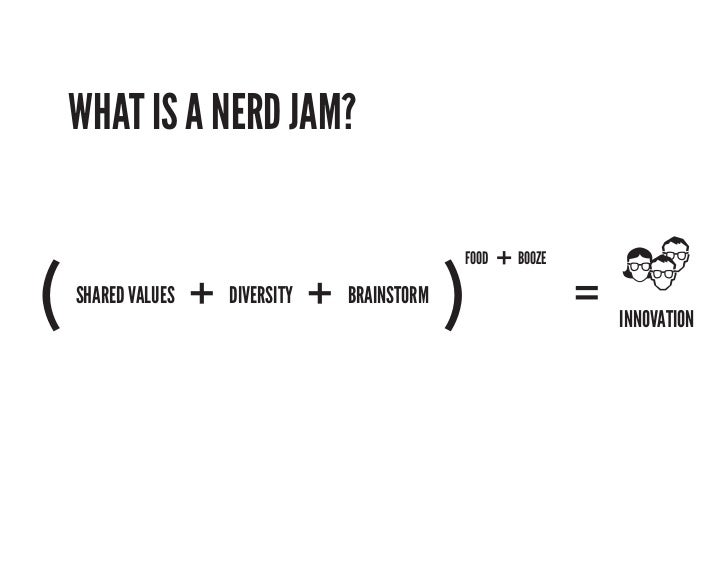 WHAT IS A NERD JAM?                                                    + BOOZE(                   + DIVERSITY + BRAINSTORM...