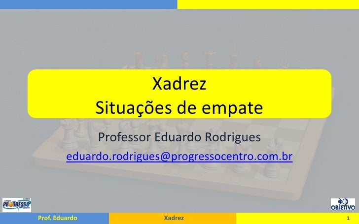XadrezSituações de empate<br />Professor Eduardo Rodrigues<br />eduardo.rodrigues@progressocentro.com.br<br />1<br />