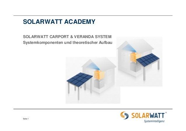 SOLARWATT ACADEMY  SOLARWATT CARPORT & VERANDA SYSTEM  Systemkomponenten und theoretischer Aufbau  Seite 1