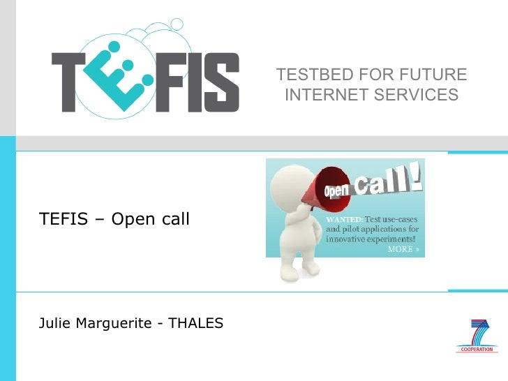 TESTBED FOR FUTURE INTERNET SERVICES TEFIS – Open call Julie Marguerite - THALES