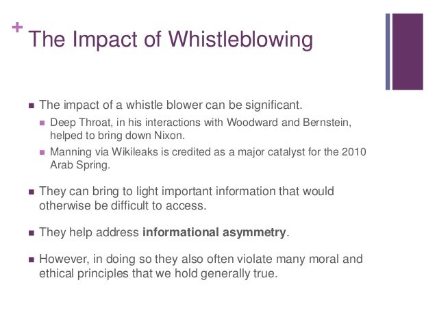 ethics of whistle blowing Whistle blowing has to do with ethics because it represents a person's understanding, at a deep level, that an action his or her organization is taking is harmful.