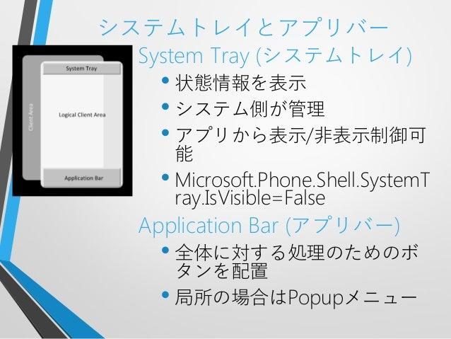 システムトレイとアプリバーSystem Tray (システムトレイ)• 状態情報を表示• システム側が管理• アプリから表示/非表示制御可能• Microsoft.Phone.Shell.SystemTray.IsVisible=FalseAp...