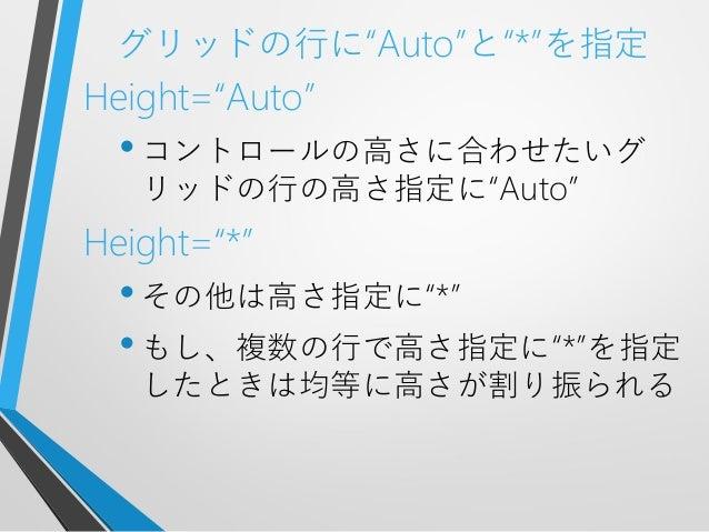 """グリッドの行に""""Auto""""と""""*""""を指定Height=""""Auto""""•コントロールの高さに合わせたいグリッドの行の高さ指定に""""Auto""""Height=""""*""""•その他は高さ指定に""""*""""•もし、複数の行で高さ指定に""""*""""を指定したときは均等に高さが割..."""