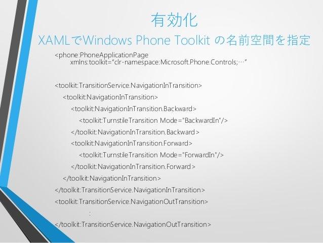 """有効化XAMLでWindows Phone Toolkit の名前空間を指定<phone:PhoneApplicationPagexmlns:toolkit=""""clr-namespace:Microsoft.Phone.Controls;…""""<..."""