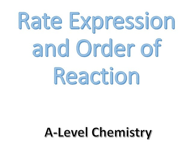 The rate expression That's where the rate expression comes in We know how to work out the rate of reaction … … but that do...