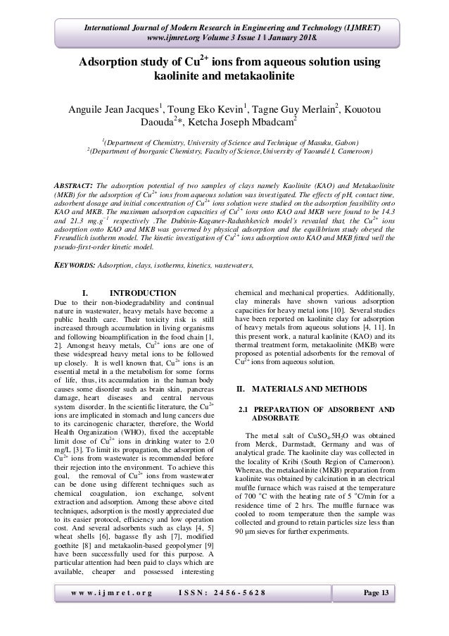 adsorption study of cu2 ions from aqueous solution using kaolinite a