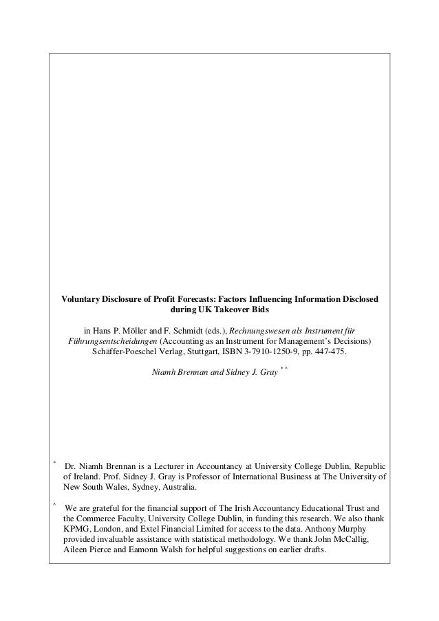 Voluntary Disclosure of Profit Forecasts: Factors Influencing Information Disclosed                                during ...
