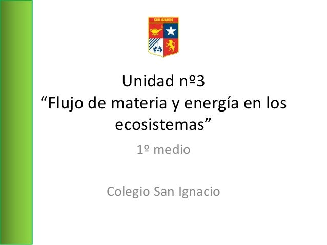 """Unidad nº3 """"Flujo de materia y energía en los ecosistemas"""" 1º medio Colegio San Ignacio"""