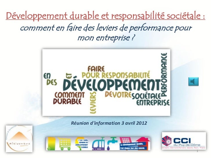Développement durable et responsabilité sociétale :   comment en faire des leviers de performance pour                  mo...