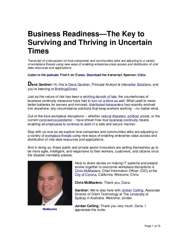 Page 1 of 15 Business Readiness—The Key to Surviving and Thriving in Uncertain Times Transcript of a discussion on how com...