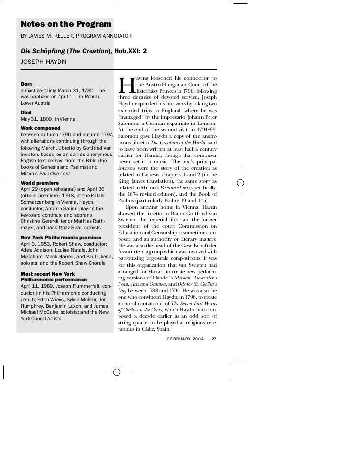 Notes on the Program BY JAMES M. KELLER, PROGRAM ANNOTATOR  Die Schöpfung (The Creation), Hob.XXI: 2 JOSEPH HAYDN         ...