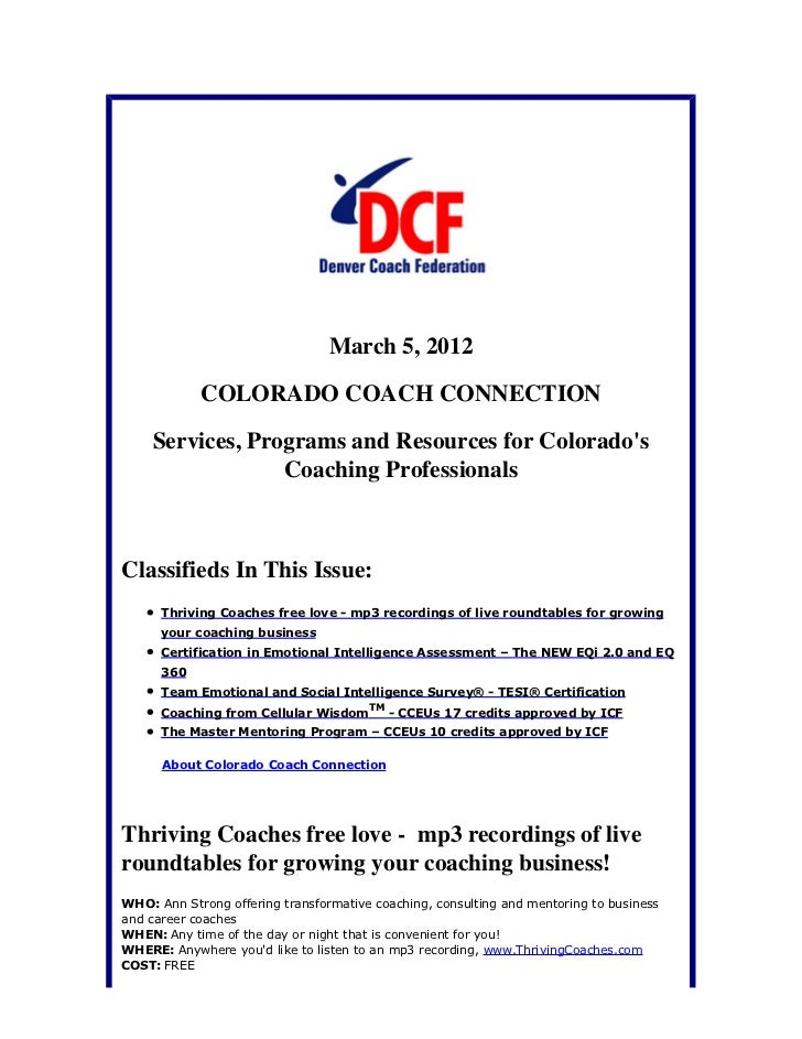 March 5, 2012            COLORADO COACH CONNECTION    Services, Programs and Resources for Colorados                 Coach...