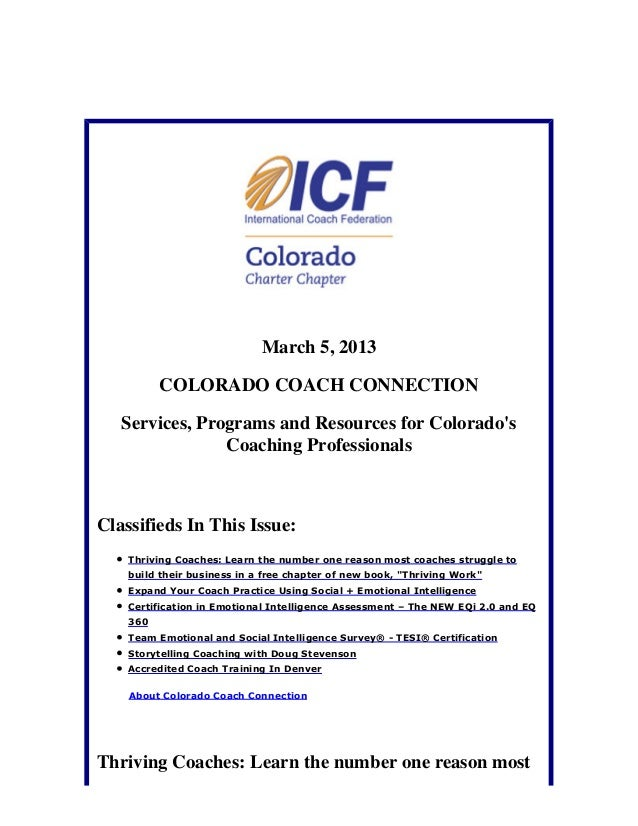 March 5, 2013          COLORADO COACH CONNECTION   Services, Programs and Resources for Colorados                Coaching ...