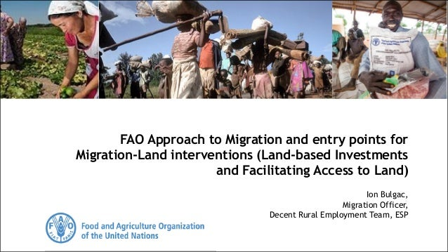 Ion Bulgac, Migration Officer, Decent Rural Employment Team, ESP FAO Approach to Migration and entry points for Migration-...