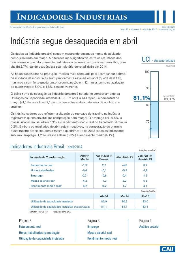 INDICADORES INDUSTRIAIS Indústria segue desaquecida em abril Os dados da indústria em abril seguem mostrando desaqueciment...
